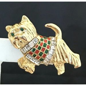 Vintage Dog Pin Terrier Crystals Gold Tone 11C